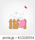 Funny pig behind wooden fence of garden for your 61328354