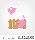 Funny pig behind wooden fence of garden for your 61328355