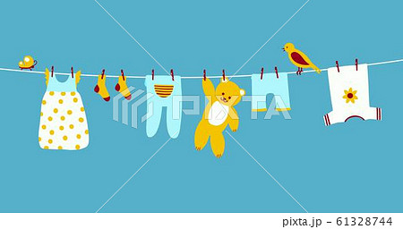 Baby clothes on clothesline hanging and drying. Clean apparel on a rope. Colorful vector 61328744