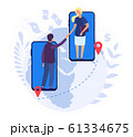 Online agreement. Business partners handshake, e-commerce deal. Worldwide financial partnership vector illustration 61334675