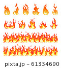 Fire flame. Burning firex seamless border, cartoon style blazing campfire. Fiery effect and different flat blazes. Flaming vector symbols 61334690