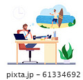 Dreaming man. Office manager dreams about beach vacation and surfing vector concept 61334692