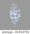 Soap bubbles. Realistic 3d water soapy balls isolated on transparent background. Abstract magic bubbly liquid vector illustration 61334702