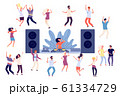 Dancing people. DJ disco party, dance women, men and couples. Happy friends on music event, fun isolated vector characters 61334729
