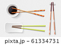 Chopsticks. Colorful wooden sushi sticks, plate with soy sauce. Asian food utensils isolated on transparent background. Japanese, chinese or korean cutleries vector set 61334731