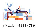 People reading books. Men women studying textbook, students learning. Cartoon self education persons vector illustration 61334739