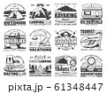 Camp tent, hiking boots, backpack, campfire icons 61348447