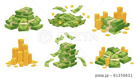 Cartoon money and coins. Green dollar banknotes pile, golden coin and rich vector illustration set 61356631