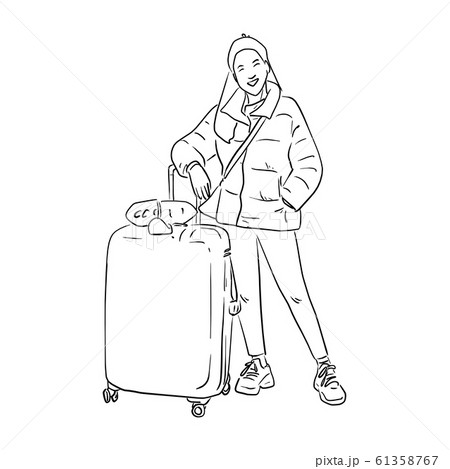 smiling woman with a luggage bag vector 61358767