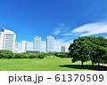 爽やかな青空のビル街と公園 61370509