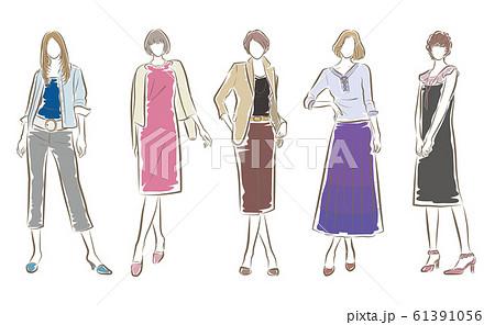 女性のファッションイラスト 61391056