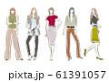 女性のファッションイラスト 61391057