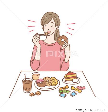 甘いものを食べる女性 イラスト 61395597