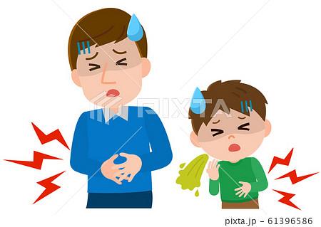 ノロウイルス 家族内感染 腹痛 下痢 イラスト 61396586