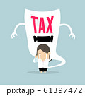 Businesswoman cry and terrifying tax devil. 61397472