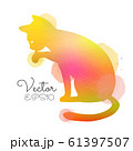 Silhouette of watercolor colorful cat. 61397507
