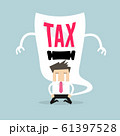 Businessman cry and terrifying tax devil. 61397528