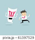 Businessman run away from tax devil. 61397529