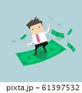 Businessman riding surfing flying money. 61397532