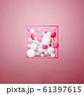 3d group of colorful pastel spheres in pink wire 61397615