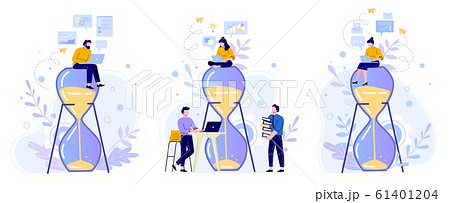 Time management hourglass. People work with laptop on sandglass, working hours and team productivity flat vector illustration set. Office workers cartoon characters. Performance concept 61401204