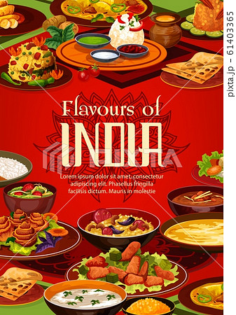 Indian cuisine food, menu or cooking recipe cover 61403365