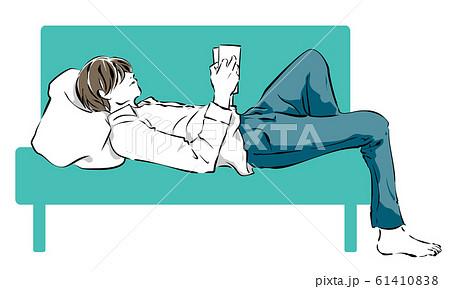 横になって本を読む男性のイラスト素材 [61410838] - PIXTA