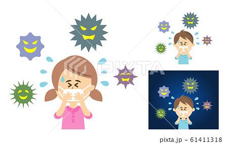 ウイルス対策にマスクをする子供のイラストイメージ 61411318