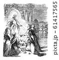 Vintage Drawing of Biblical Story of Jesus and the Parable of Ten Virgins with Lamps.Five Wise With Oil, Five Foolish Without.Bible, New Testament, Matthew 25 61417565
