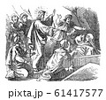 Vintage Drawing of Biblical Story of Jesus Raises Lazarus From the Death. Bible, New Testament, John 11 61417577
