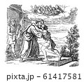 Vintage Drawing of Biblical Story of Jesus and Parable of the Lost Son. Father is Welcoming His Son Back Home. Bible, New Testament, Luke 15 61417581