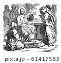 Vintage Drawing of Biblical Story of Jesus at Home of Mary and Martha .Bible, New Testament, Luke 10 61417583