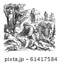 Vintage Drawing of Biblical Story of Jesus and the Parable of Good Samaritan.Bible, New Testament, Luke 10 61417584
