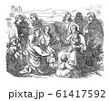 Vintage Drawing of Biblical Story of Jesus and Little Children.Bible, New Testament, Matthew 19 61417592
