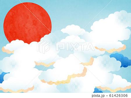 背景素材(空,雲,太陽)よこ1-1テク 61426306