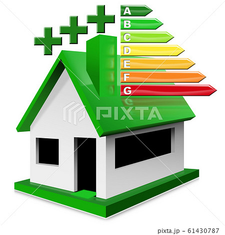 House Energy Efficiency Rating - Residential building with performance chart 61430787
