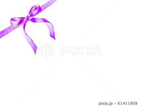 リボン イラスト 水彩 かわいい 紫 61451909
