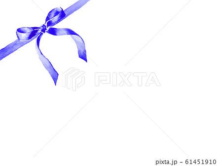 リボン イラスト 水彩 かわいい 青 61451910