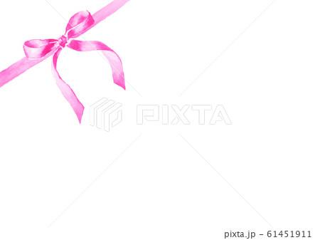 リボン イラスト 水彩 かわいい ピンク 61451911