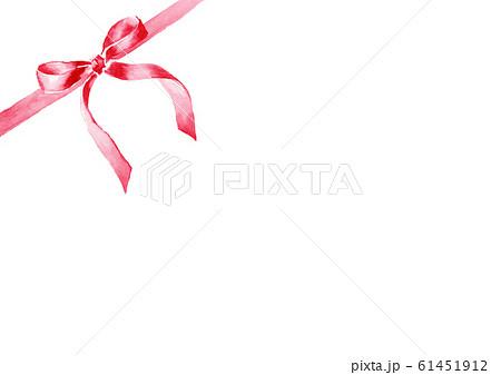リボン イラスト 水彩 かわいい 赤 61451912