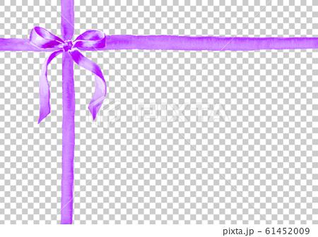リボン イラスト 水彩 プレゼント 紫 61452009