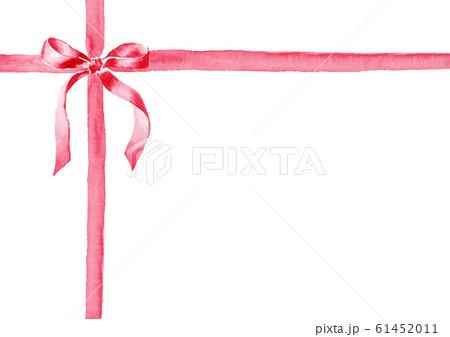 リボン イラスト 水彩 プレゼント 赤 61452011