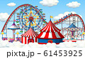 Scene with roller coaster and ferris wheel in the 61453925
