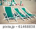 Beach chairs on european beach in italy in popular area 61468838