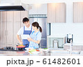 レシピを調べる男女 明るい台所 61482601