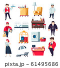 Hotel services concept and staff collection of icons 61495686