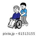 車椅子に座るシニア男性と介護士男性(シンプル) 61513155