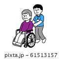 車椅子に座るシニア女性と介護士男性性(シンプル) 61513157