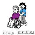 車椅子に座るシニア女性と介護士女性(シンプル) 61513158