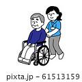 車椅子に座るシニア男性と介護士女性(シンプル) 61513159